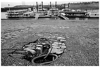 Riverfront, anchoring ring and riverboats. Memphis, Tennessee, USA (black and white)
