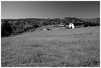 Meadow and barn. Virginia, USA (black and white)