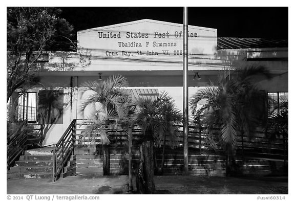 Post office, Cruz Bay. Saint John, US Virgin Islands (black and white)