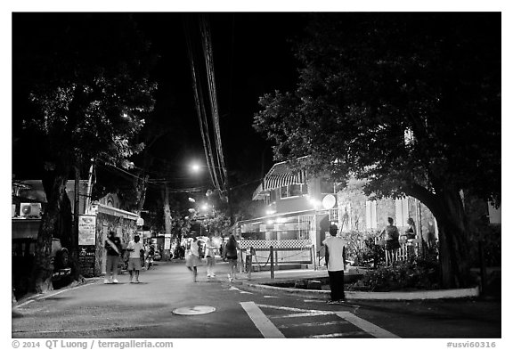 Street at night, Cruz Bay. Saint John, US Virgin Islands (black and white)