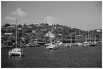 Red Hook harbor. Saint Thomas, US Virgin Islands ( black and white)