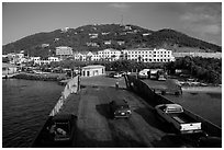 Car barge arriving at Red Hook harbor. Saint Thomas, US Virgin Islands ( black and white)