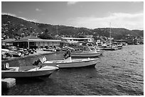 Fishing boats, Frenchtown harbor. Saint Thomas, US Virgin Islands ( black and white)