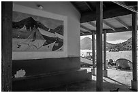 Mural decor and Hassel Island. Saint Thomas, US Virgin Islands ( black and white)