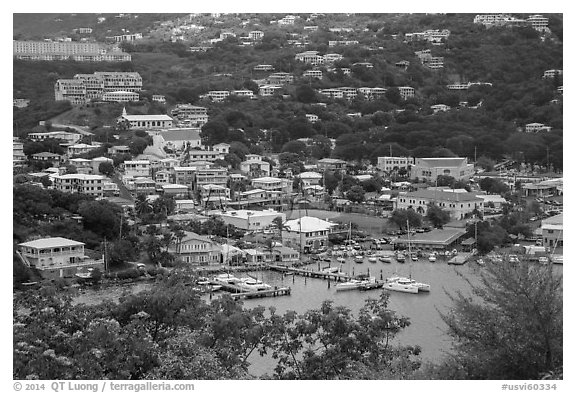 Frenchtown from above. Saint Thomas, US Virgin Islands (black and white)