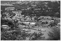 Frenchtown from above. Saint Thomas, US Virgin Islands ( black and white)