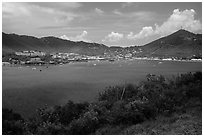 St Thomas harbor, Charlotte Amalie. Saint Thomas, US Virgin Islands ( black and white)