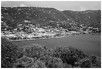 Charlotte Amalie seen from Hassel Island. Saint Thomas, US Virgin Islands ( black and white)