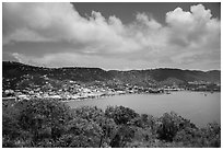 Charlotte Amalie harbor seen from Hassel Island. Saint Thomas, US Virgin Islands ( black and white)