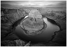 Horsehoe bend of the Colorado River, dawn. Arizona, USA (black and white)