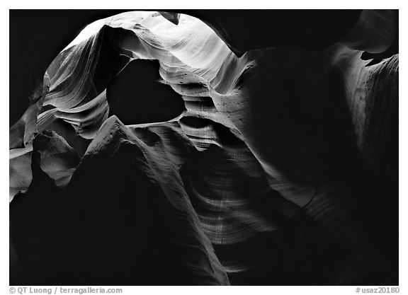 Sandstone walls sculpted by fast moving water, Upper Antelope Canyon. Arizona, USA (black and white)