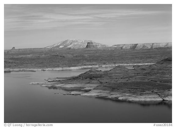 Antelope Island and Lake Powell, Glen Canyon National Recreation Area, Arizona. USA (black and white)