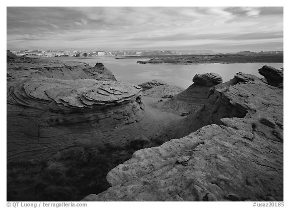Sandstone swirls and Lake Powell. Arizona, USA (black and white)