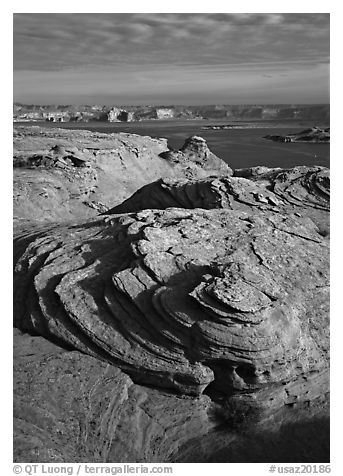 Rock Swirls and Lake Powell, Glen Canyon National Recreation Area, Arizona. USA (black and white)