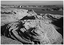 Sandstone Swirls and Lake Powell, Glen Canyon National Recreation Area, Arizona. USA ( black and white)