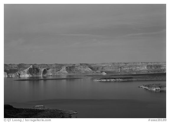 Lake Powell, blue hour, Glen Canyon National Recreation Area, Arizona. USA (black and white)