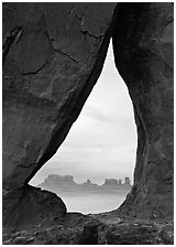 Teardrop Arch. Monument Valley Tribal Park, Navajo Nation, Arizona and Utah, USA (black and white)