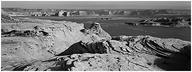 Lake Powell view with sandstone swirls, Glen Canyon National Recreation Area, Arizona. USA (Panoramic black and white)