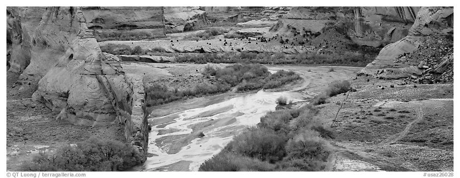Canyon landscape with cultivated fields. Canyon de Chelly  National Monument, Arizona, USA (black and white)