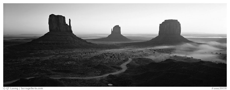 Monument Valley landscape at sunrise. Monument Valley Tribal Park, Navajo Nation, Arizona and Utah, USA (black and white)