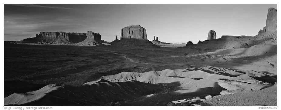 Monument Valley late afternoon scenery with shadows. Monument Valley Tribal Park, Navajo Nation, Arizona and Utah, USA (black and white)
