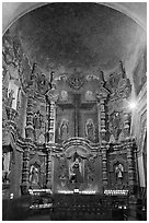 Altar, San Xavier del Bac Mission. Tucson, Arizona, USA (black and white)