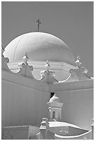 Whitewashed dome, San Xavier del Bac Mission. Tucson, Arizona, USA (black and white)