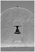 Bell, San Xavier del Bac Mission (the White Dove of the Desert). Tucson, Arizona, USA (black and white)