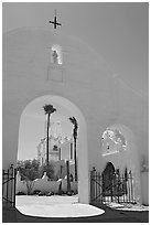 Arches and North Court, San Xavier del Bac Mission. Tucson, Arizona, USA (black and white)