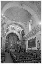 Chapel, San Xavier del Bac Mission. Tucson, Arizona, USA (black and white)