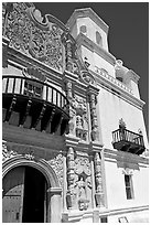 Facade and tower, San Xavier del Bac Mission. Tucson, Arizona, USA ( black and white)