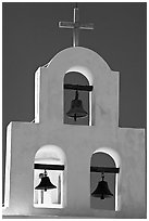 White Bell tower, San Xavier del Bac Mission. Tucson, Arizona, USA (black and white)