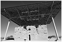 Prehistoric Big House, Casa Grande Ruins National Monument. Arizona, USA ( black and white)