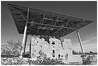 Hohokam house, Casa Grande Ruins National Monument. Arizona, USA (black and white)