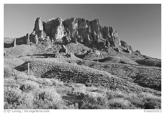Superstition Mountains in spring, Lost Dutchman State Park, late afternoon. Arizona, USA (black and white)