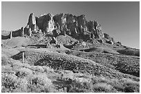 Superstition Mountains in spring, Lost Dutchman State Park, late afternoon. Arizona, USA ( black and white)