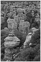Rhyolite spires. Chiricahua National Monument, Arizona, USA (black and white)