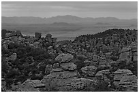 Spires at dusk from from Massai Point. Chiricahua National Monument, Arizona, USA (black and white)