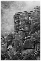 Pinnacles and fog. Chiricahua National Monument, Arizona, USA (black and white)