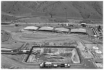 Copper mining installations, Morenci. Arizona, USA (black and white)