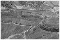 Terrain detail, Morenci mine. Arizona, USA (black and white)