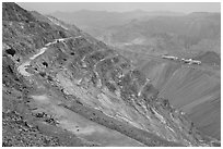 Terraces in open-pit mine, Morenci. Arizona, USA (black and white)