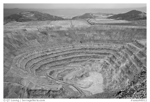 Open pit mine, Morenci. Arizona, USA (black and white)