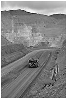 Truck with ore in copper mine, Morenci. Arizona, USA (black and white)