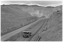 Truck with copper ore in open pit Morenci mine. Arizona, USA (black and white)