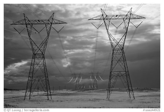 Power lines and storm clouds. Arizona, USA (black and white)