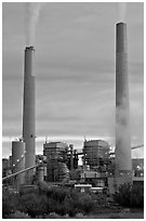 Smokestacks, Cholla generating station,. Arizona, USA ( black and white)