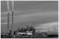 Coal fired generating station at dusk, near Holbrook. Arizona, USA ( black and white)