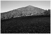 Cinder and Sunset Crater at sunrise, Sunset Crater Volcano National Monument. Arizona, USA (black and white)