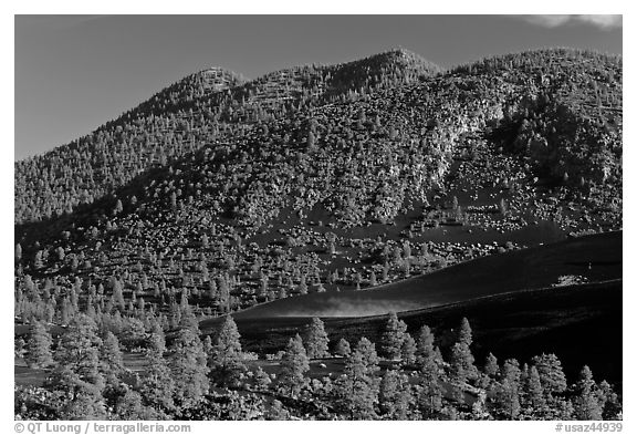 Cinder-covered slopes, Sunset Crater Volcano National Monument. Arizona, USA (black and white)